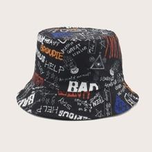 Sombrero cubo con estampado de letra