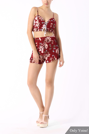 Yoins Vintage Floral Print Co-ord with Frill Detail