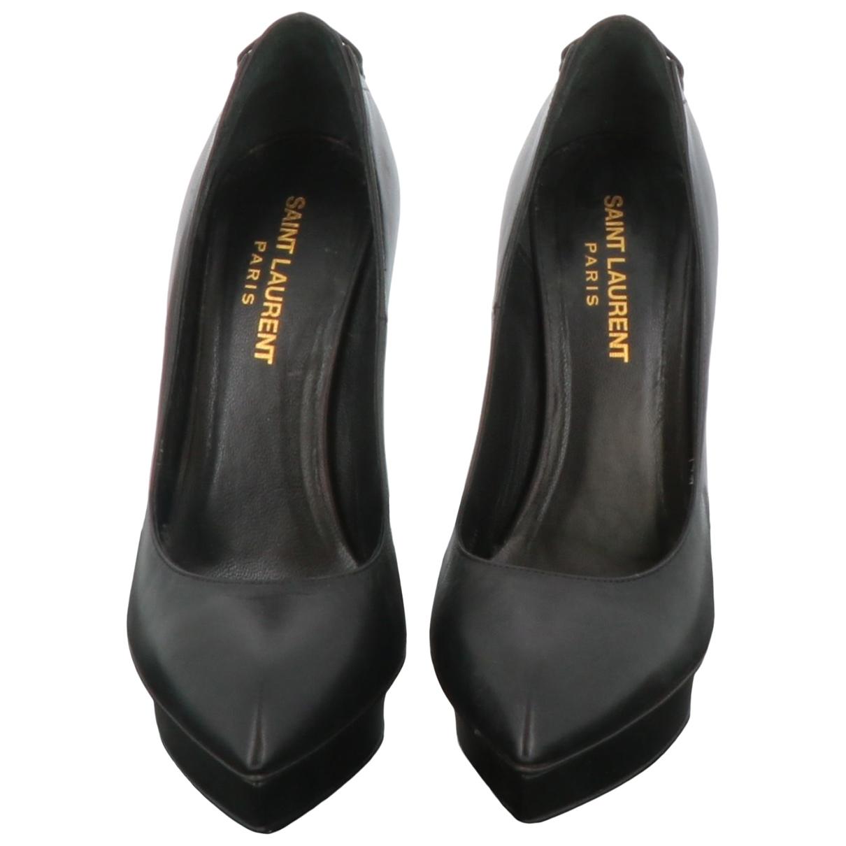 Saint Laurent \N Black Leather Heels for Women 36.5 EU