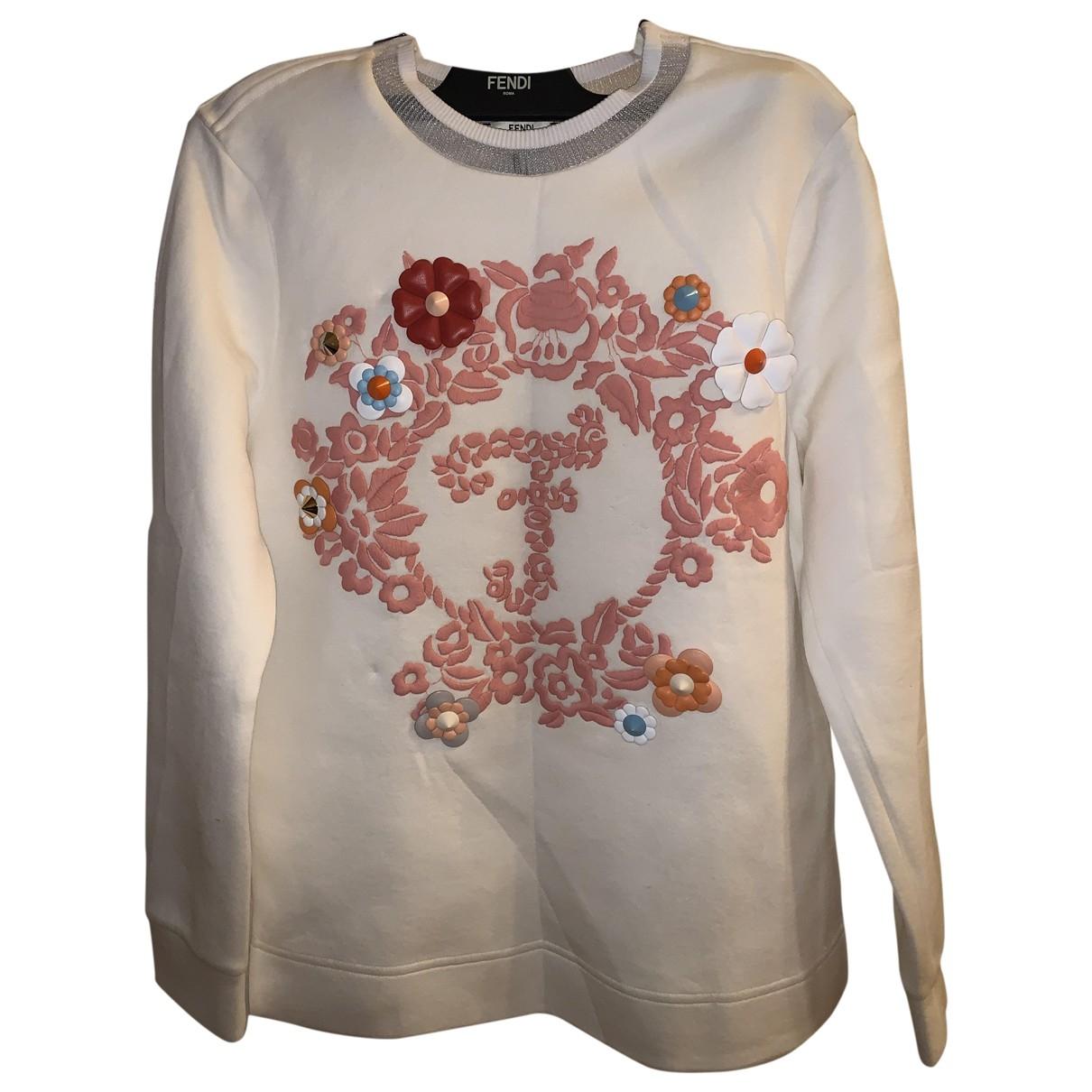 Fendi - Pull   pour femme en coton - blanc