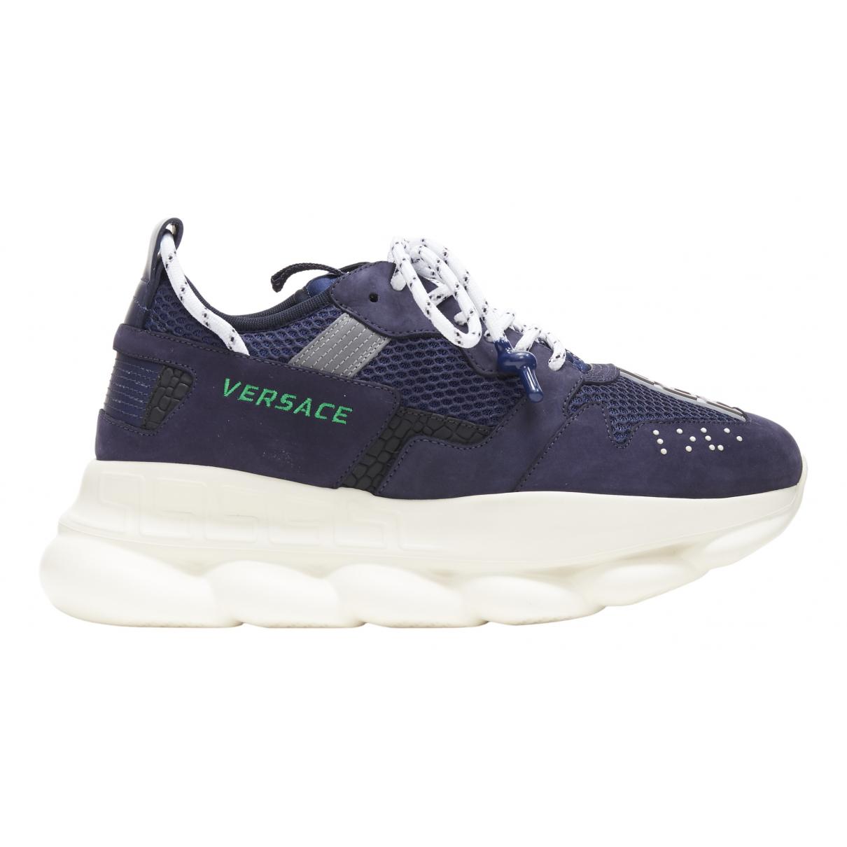 Versace Chain Reaction Sneakers in  Marine Leinen
