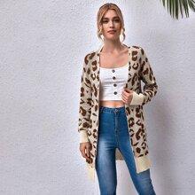 Strickjacke mit offener Vorderseite und Leopard Muster
