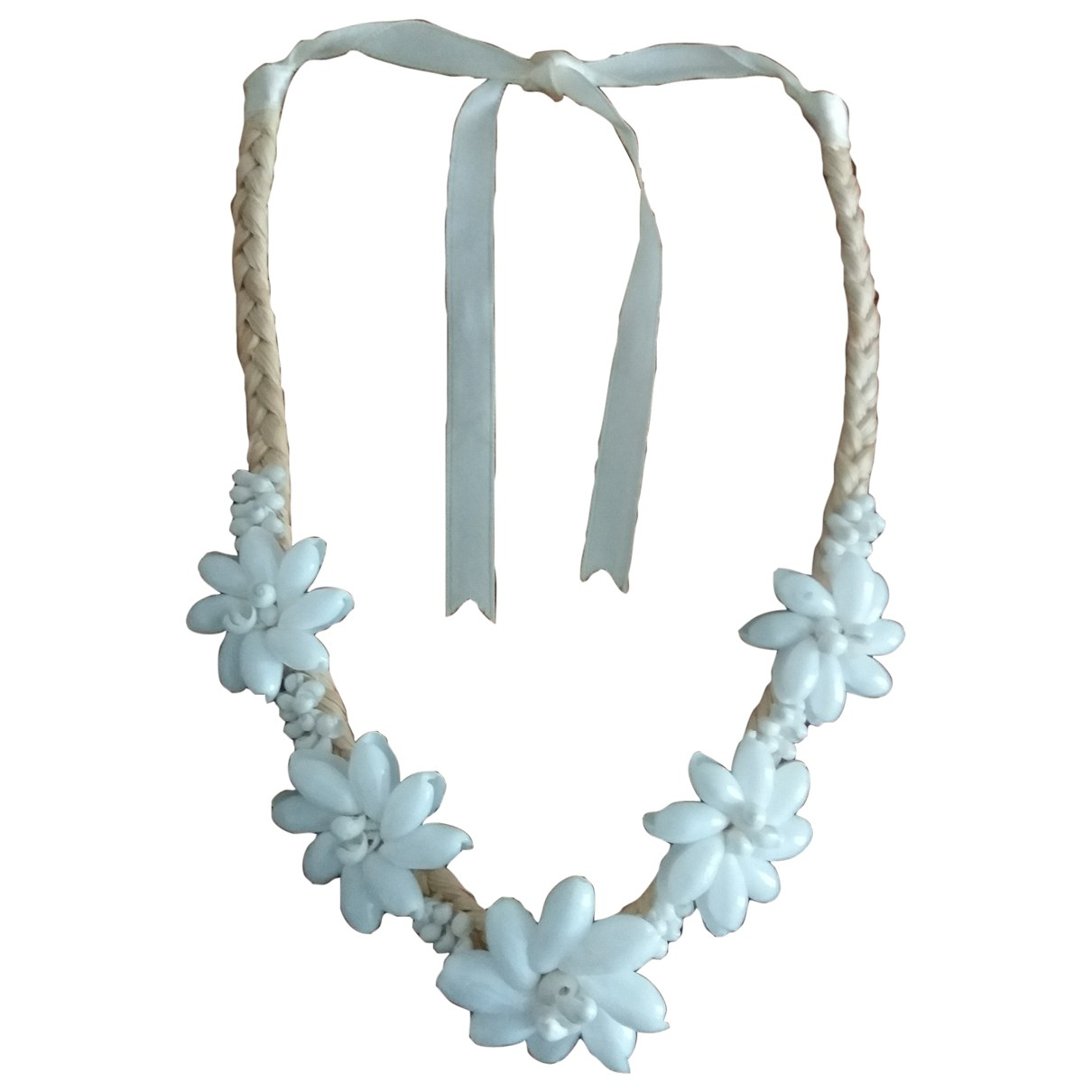 Non Signe / Unsigned Motifs Coquillages Kette in  Weiss Metall