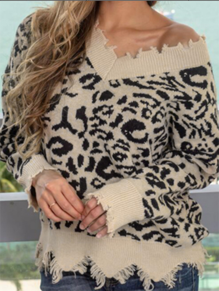 Yoins Brown Ripped Details Leopard One Shoulder Jumper