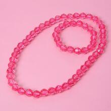 2pcs Girls Simple Beaded Jewelry Set