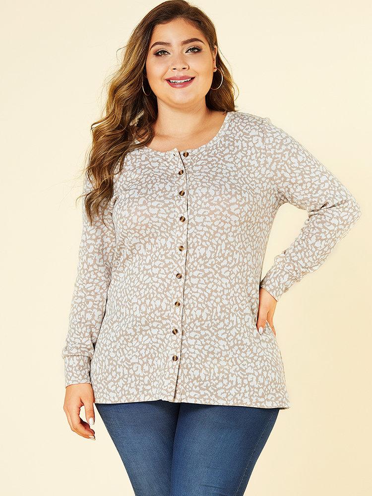 Leopard Print Crew Neck Button Plus Size Blouse