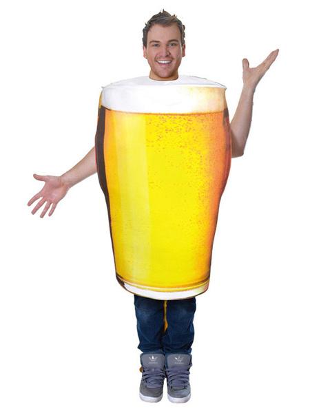 Milanoo Food Costume Beer Adults Unisex Yellow Funny Costumes Halloween