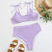 Bikini Badeanzug mit Band auf Schulter und hoher Taille