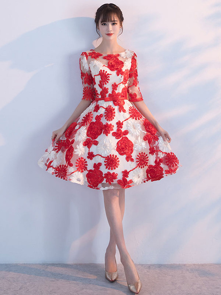 Milanoo Red Homecoming Dresses Flowers Embroidered Short Prom Dress Half Sleeve Knee Length Cocktail Dress