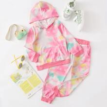 Outfits dos piezas para niña pequeña Bolsillo Tie-Dye Casual
