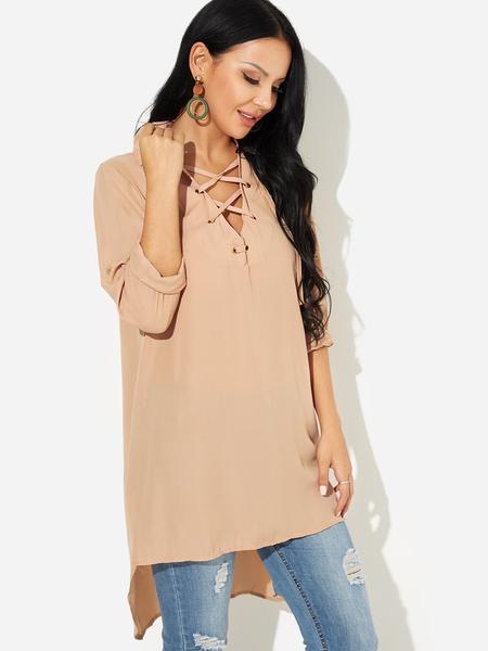 Yoins Khaki Criss-cross Plain V-neck 3/4 Length High-low Hem Sleeves Dress