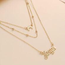 Halskette mit Buchstaben und Mond Anhaenger
