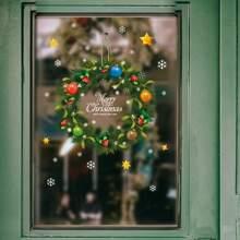 Weihnachten Fenster Aufkleber mit Kranz Muster