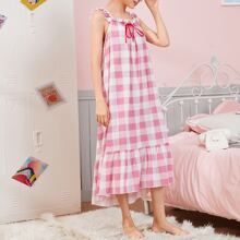 Frill Trim Flounce Hem Buffalo Plaid Nightdress