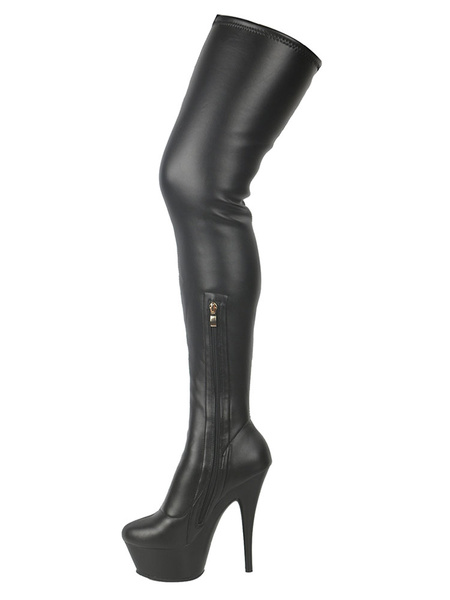 Milanoo Over The Knee Boots Black Round Toe 5.9 Thigh High Boots For Women
