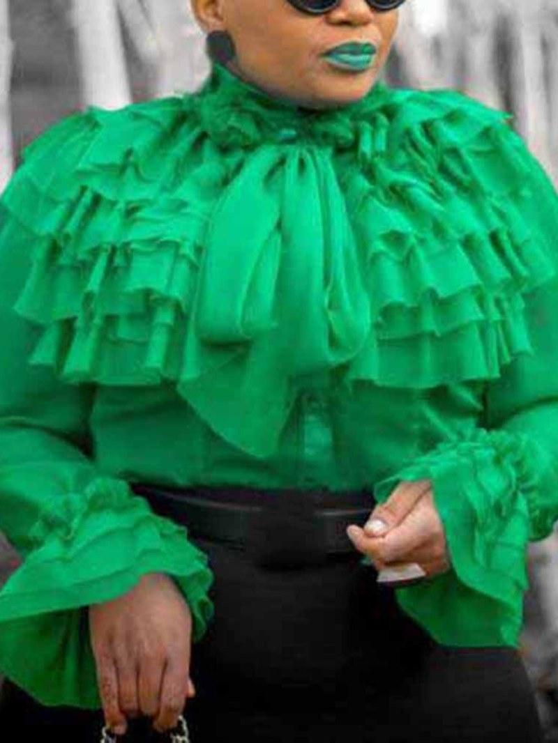 Ericdress Plus Size Patchwork Lace-Up Ruffles Blouse