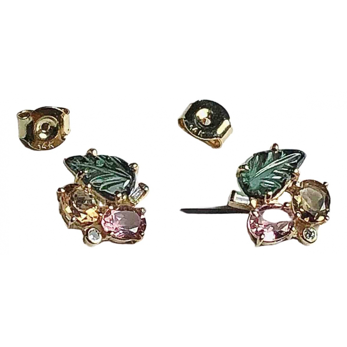 Non Signé / Unsigned \N Green Yellow gold Earrings for Women \N
