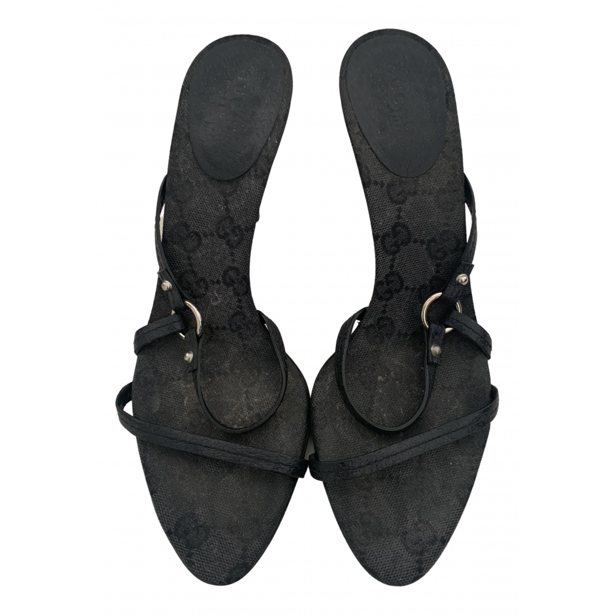 Gucci N Black Leather Sandals for Women 37 EU