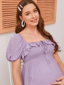 Maternity Shirred Ruched Bodice Ruffle Trim Swiss Dot Peplum Top