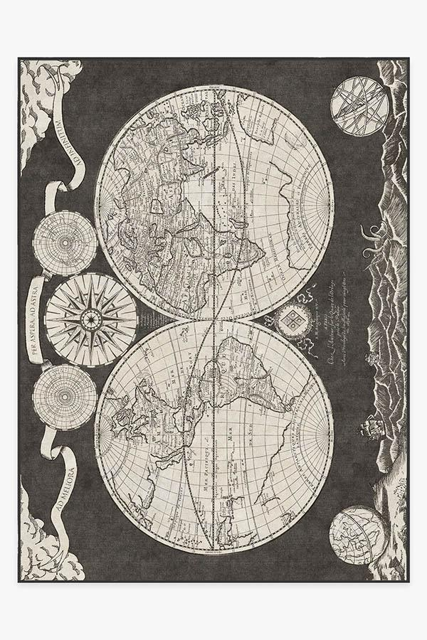 Washable Rug Cover & Pad | Sailor's Map Charcoal Rug | Stain-Resistant | Ruggable | 9'x12'