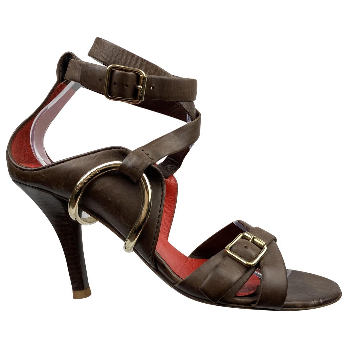 Celine - Sandales   pour femme en cuir - marron