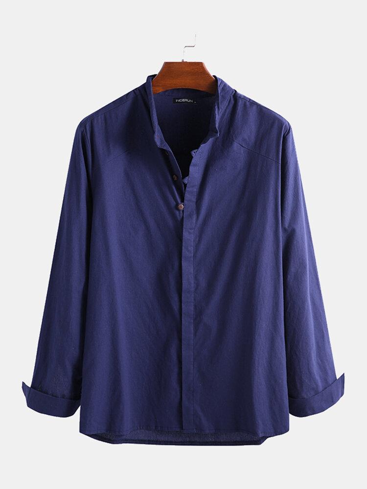 Men Cotton Linen Pure Color Ethnic Casual Stand Collar shirt