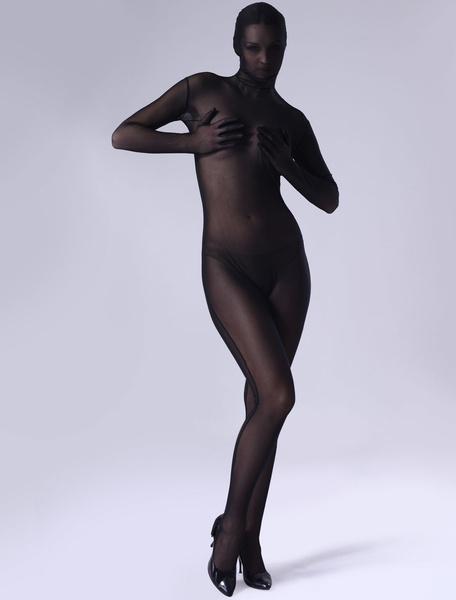 Milanoo Disfraz Halloween Zentai De Halloween Tiffany Negro Catsuit De Cuerpo Entero Carnaval Halloween