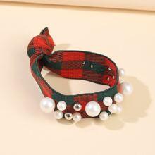 Faux Pearl Decor Plaid Hair Tie