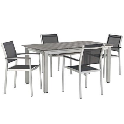 Shore Collection EEI-3198-SLV-BLK-SET 5 PC Outdoor Patio Aluminum Outdoor Dining Set in Silver Black