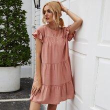 Pink Rueschen Einfarbig Bohmisch Kleider