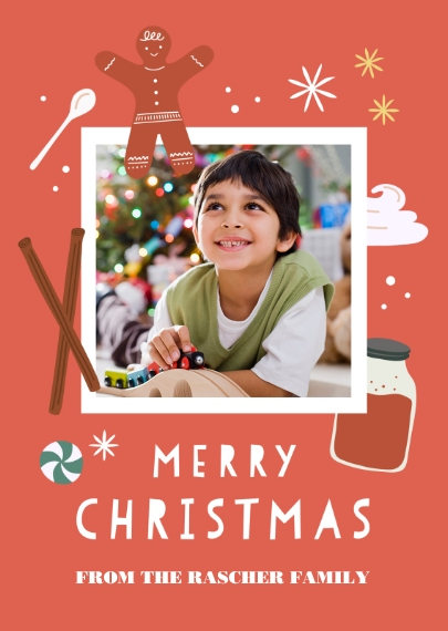 Christmas Photo Cards 5x7 Folded Cards, Premium Cardstock 120lb, Card & Stationery -Gingerbread Christmas