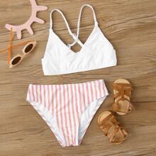 Girls Striped Crisscross Bikini Swimsuit
