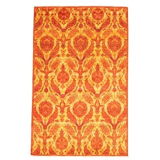 ECARPETGALLERY  Hand-knotted Lahore Finest Collection  Copper Wool Rug - 5'10 x 9'2 (Dark Copper - 5'10 x 9'2)
