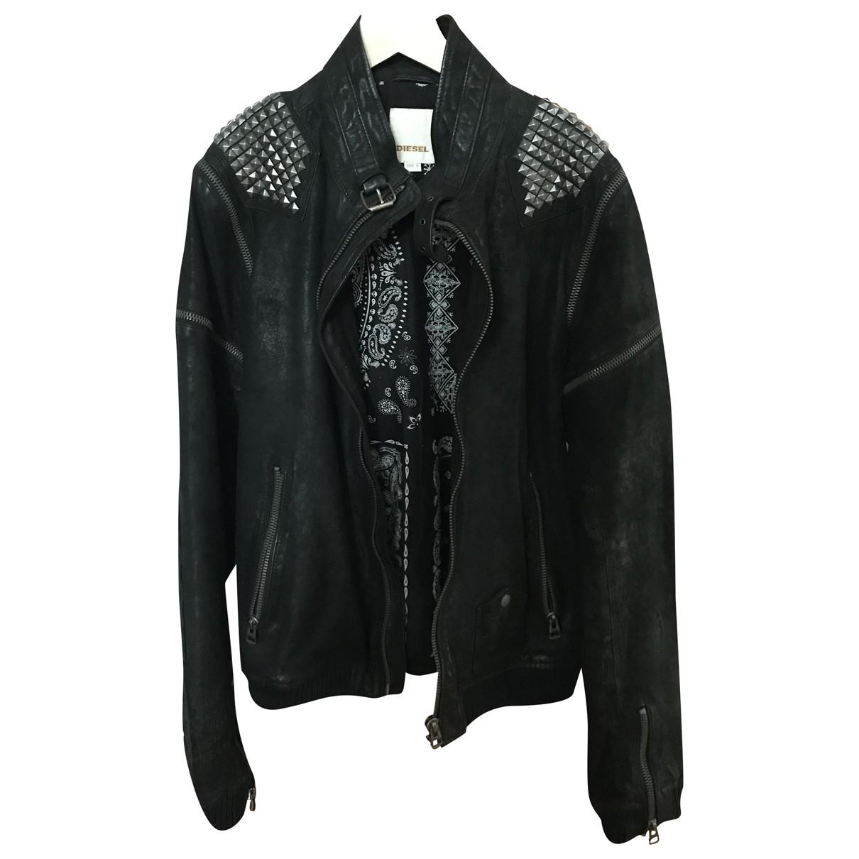 Diesel N Black Leather jacket  for Men L International