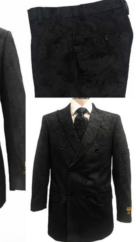 Mens Alberto Nardoni Black Paisly Paisley Double Breasted Velvet Suit