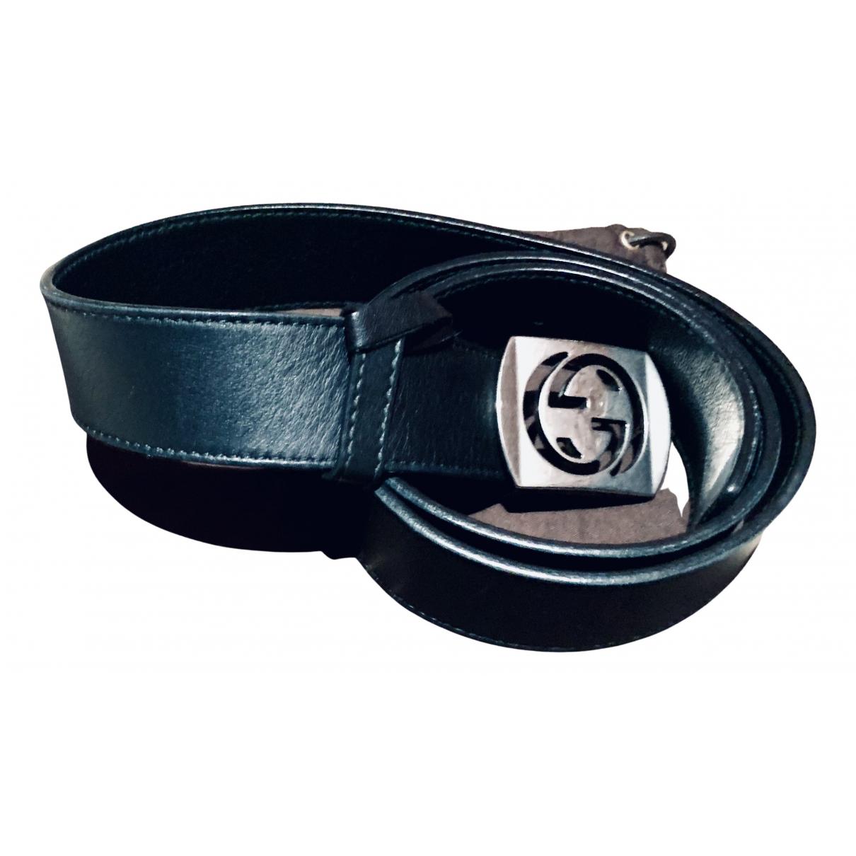 Gucci - Ceinture Interlocking Buckle pour homme en cuir - noir