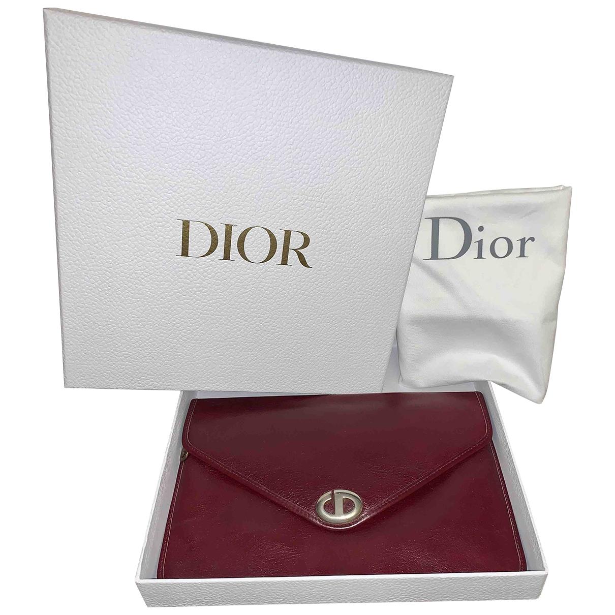 Dior - Pochette   pour femme en cuir - bordeaux