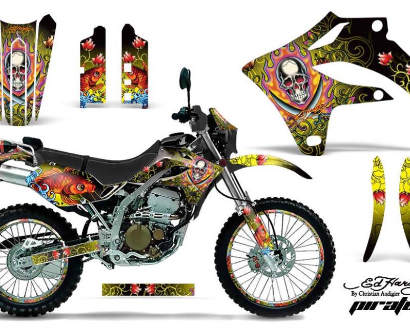 AMR Racing Graphics MX-NP-KLX250S-04-07-EDHP Y Kit MX Decal Wrap + # Plates For Kawasaki KLX250S 2004-2007áEDHP YELLOW