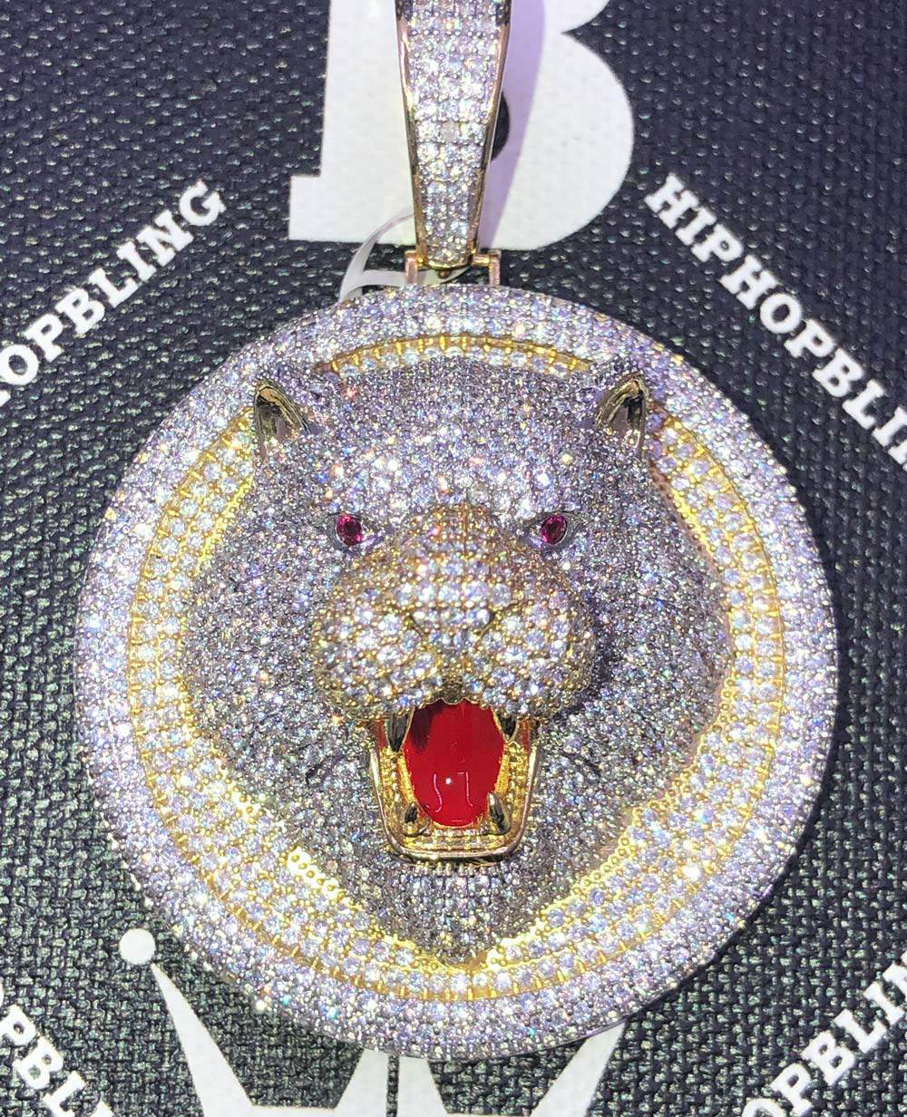 Bear Medallion 3D Detailed CZ Hip Hop Bling Bling Pendant