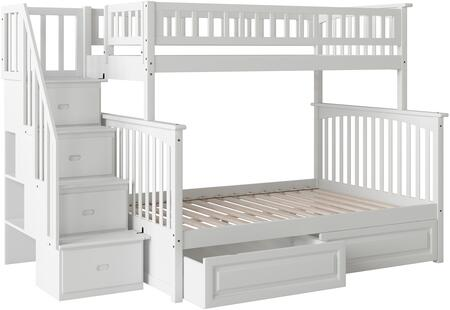 Columbia Collection AB55722 Twin Over Full Bunk Bed with 2 Raised Panel Bed Drawers  Storage Staircase  Built-In Modesty Panel and Solid Eco-Friendly