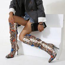 Botas de rodilla con estampado de piel de serpiente
