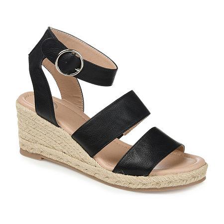 Journee Collection Womens Norra Wedge Sandals, 9 Medium, Black