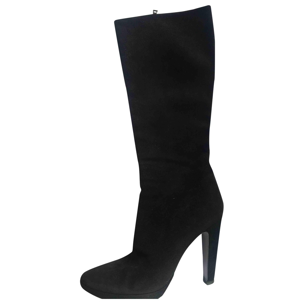 Prada \N Black Suede Boots for Women 39.5 EU