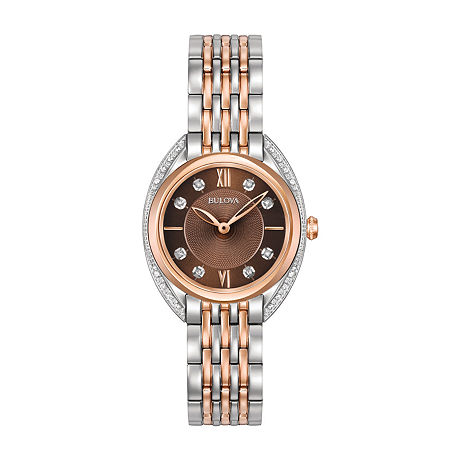 Bulova Womens Rose Goldtone Stainless Steel Bracelet Watch-98r230, One Size , No Color Family