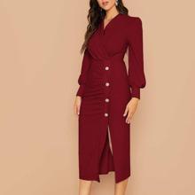 Kleid mit Schalkragen, Knopfen vorn und Ruesche