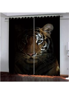 3D HD Digital Animal Print Blackout and Heat Insulation Decorative Curtains with Beautiful Tiger Pattern Living Room Bedroom Window Drapes 2 Panel Set