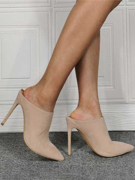 Milanoo High Heel Mules Suede Pointed Toe Slip On Slide Shoes