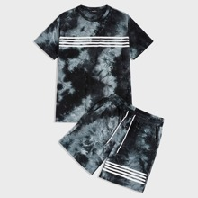 Maenner Top mit Batik, Streifen & Shorts Set