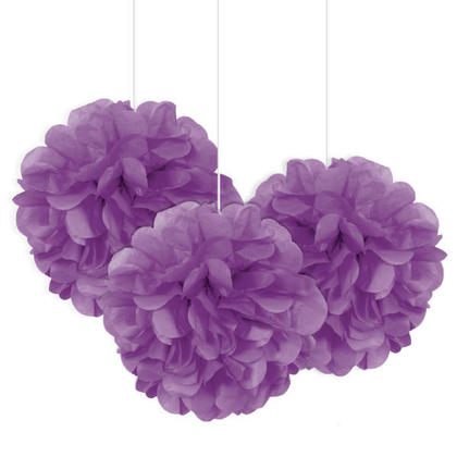 Mini Puff Tissue Party Decorations Pretty Purple 8'' 3Pcs