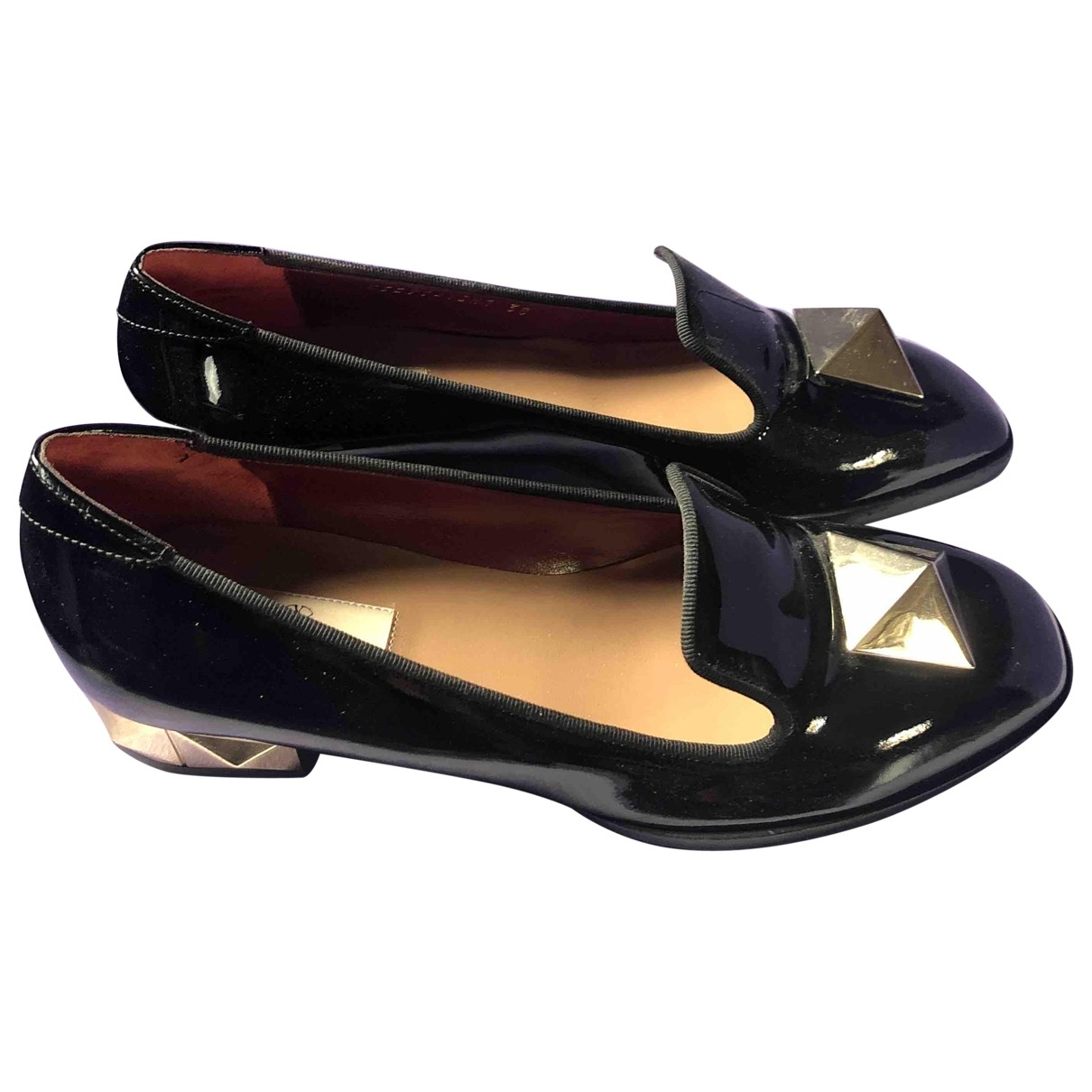 Valentino Garavani \N Black Patent leather Flats for Women 38 EU